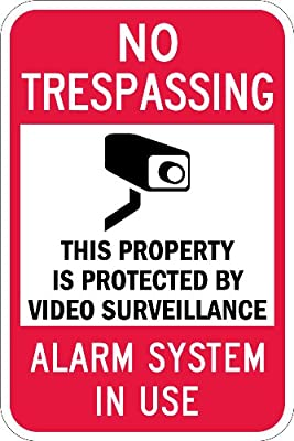 "SmartSign Security Sign, Legend ""Video Surveillance Silent Alarm Notifies Police"", Black/Red on White"