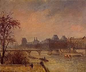 Amazon.com: Oil Painting: The Seine and the Louvre, Paris