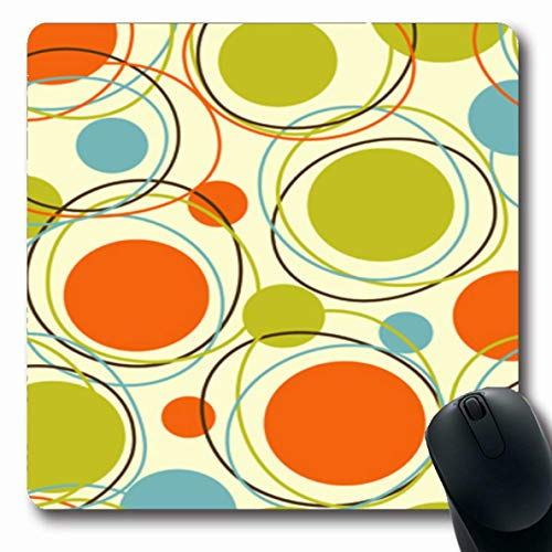 Ahawoso Mousepad Oblong 7.9x9.8 Inches Vintage Mid Retro Abstract Clip Pattern Century Modern Office Computer Laptop Notebook Mouse Pad,Non-Slip Rubber