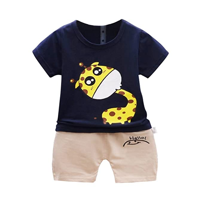 Sommer Kinder Jungen Cartoon Outfits Kleidung T-Shirt Tops Shorts 2er Set