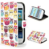 Eforcase Owl Design(3#) Stand PU Leather Wallet Case Cover for Samsung Galaxy S3 Mini i8190 With Screen protector