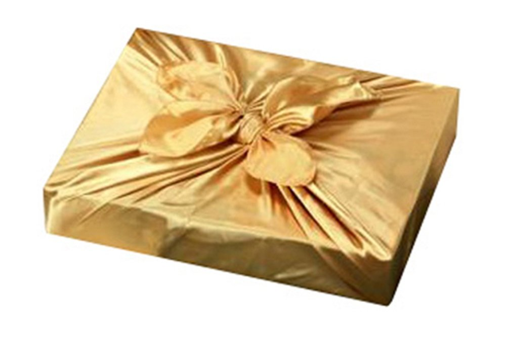 Korean Traditional Gift Wrapping Cloth BOJAGI 5 pcs Gold Color, X Large Size, 43x43