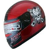 Motorcycle Helmet Full Face sports Bike Helmet skull F114 Wine Red (Med)