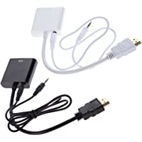 Terabyte HDMI To VGA With Audio Converter Adapter Cable (White, Black)