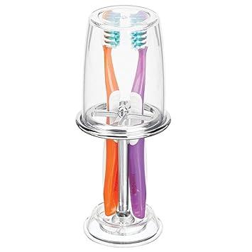 mDesign Portacepillos con vaso para enjuague bucal – Excelente vaso para cepillo de dientes con tapa