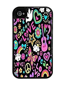 Psychedlic Peace & Love Design Black 2-in-1 Case with Silicone Insert For Apple Iphone 5/5S Case Cover