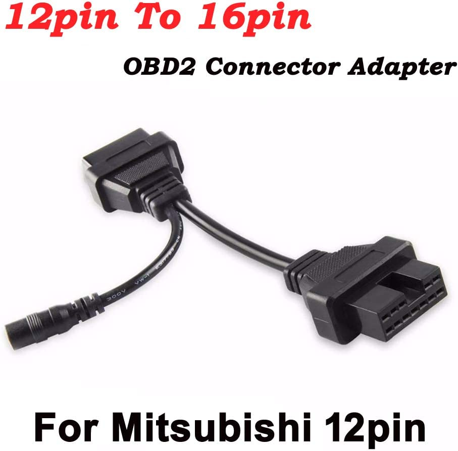 OBD Diagnostic for Mitsubishi 12pin to OBD2 16pin Connector Adapter OBD1 OBD2 Connect Cable with Power Adapter
