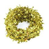 Bolansi 3PCS/1set Star Garland Tinsel Stars Brace,Tinsel Wire Garland Christmas Decoration Party Accessory (Gold)