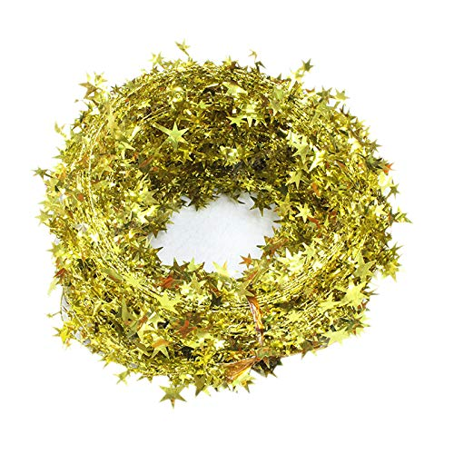 Bolansi 3PCS/1set Star Garland Tinsel Stars Brace,Tinsel Wire Garland Christmas Decoration Party Accessory (Gold) -