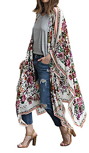 Relipop Women's Chiffon Blouse Loose Tops Beach Kimono Floral Print Cardigan (X-Large, Type 8)