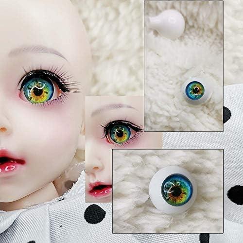 アリスの人形屋Bjd 目 DIY グリーン黄色プリント 3d 固形プラスチック眼球 12 ミリメートル 14 ミリメートル 10 ミリメートル 22 ミリメートル 18 16 ミリメートル Bjd 目 1/3 1/4 1/6 1/8 sd MS 人形