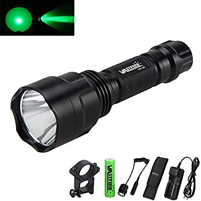 Green Light AR 15 Flashlight with Pressure Switch and Picatinny Rail Mount use with Night Vision Goggles Scope together Hunting Hog Predator