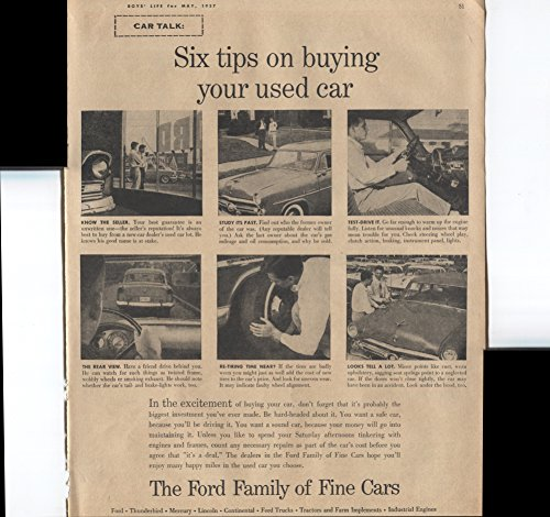 The Ford Family Of Fine Cars Ford Thunderbird Mercury Lincoln Continental Ford Trucks Tractors And Farm Implements Industrial Engines Six Tips On Buying Your Used Car 1957 Vintage Antique Advertisement