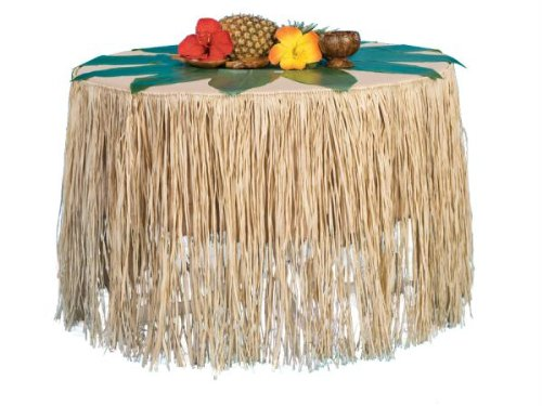 Natural Raffia Table Skirt Luau Party