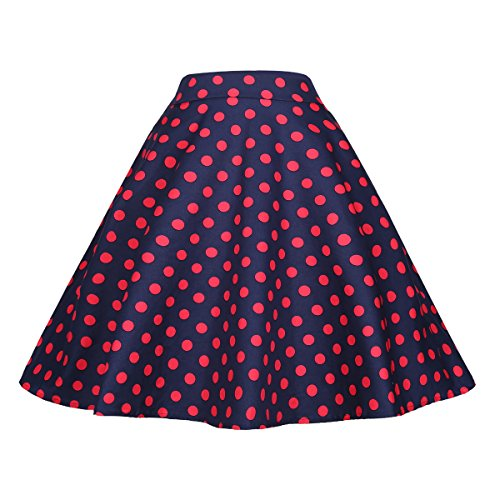 BI.TENCON Women Vintage Skirt Polka Dot Smock Waist Rockabilly Swing Casual Party Skirts (Medium, Blue and Red Dot) (Blue Smock)