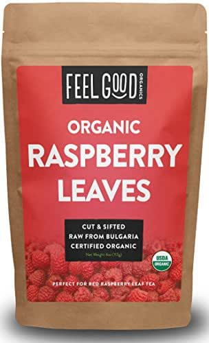 Organic Red Raspberry Leaf - Herbal Tea (50+ Cups) - Cut & Sifted Leaves - 4oz Resealable Bag - 100% Raw From Bulgaria