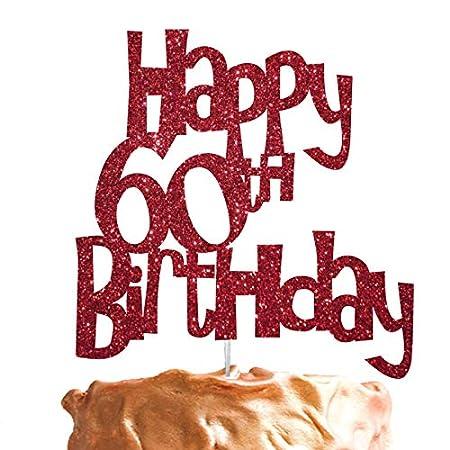 LissieLou Happy 60th Birthday Cake Topper Glitter Card Dark Pink Amazoncouk Kitchen Home