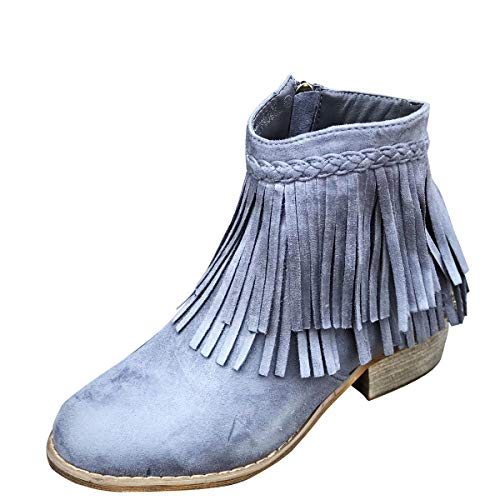 Gray Faux Ankle Cowboy Suede Marie Round Western Toe Bella Med Booties Low Fringe Heel Womens Boot Zqwn0CB