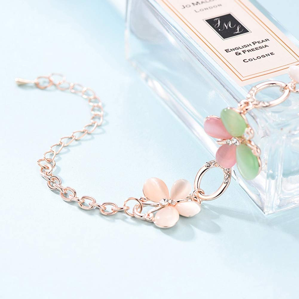 Pinksee Butterfly Flower Bracelet Adjustable Link Chain Bracelet for Women Girls