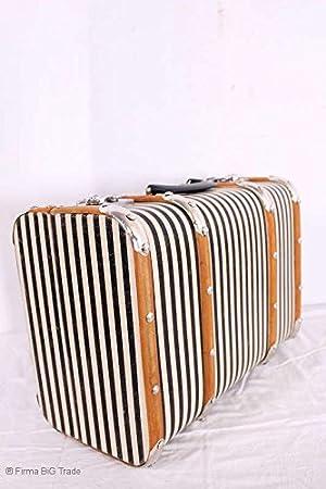 L Oldtimerkoffer Koffer blau gestreift Holzlatten 3 Größen Vorhanden VINTAGE