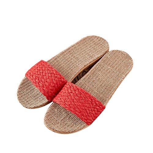 d'aspiration Anti Hiver Sueur Linge Cool de Femmes Maison Automne Pantoufles Chaussures 2 en Saisons Coton Rouges de ¨¦t¨¦ int¨¦Rieur Lin Couples Quatre Lin Printemps Sandales TELLW Odeur qEfztWE8