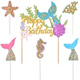 Qibote 1 Pack Mermaid Glitter Happy Birthday Cake Topper and 5 Pieces Gold Glitter Mermaid Cake Decoration for Mermaid Baby Shower Birthday Party Supplies