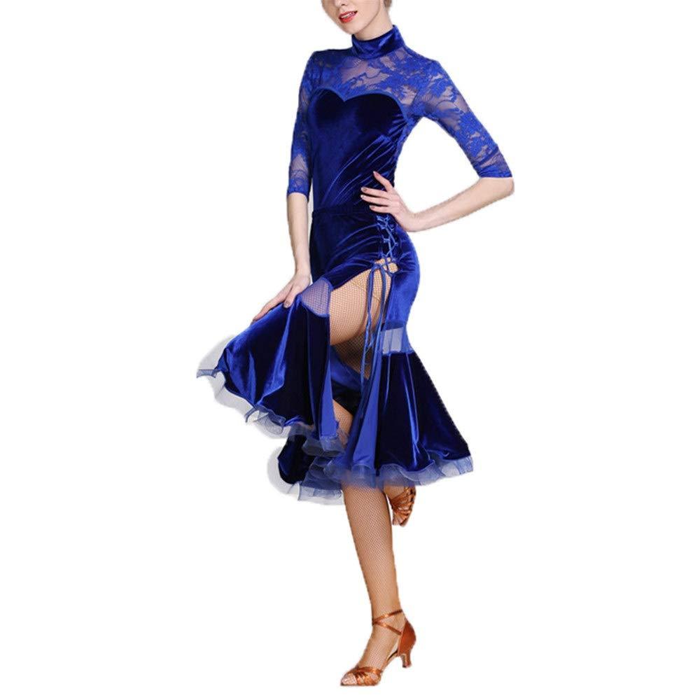 社交ダンス スカート 女性ハイカラー長袖レーススプライスラテンダンスドレススーツ社交ダンス衣装セットパーティーパフォーマンススカートコンペティションダンスウェア衣装 (色 : 青, サイズ : XXL) 青 XX-Large