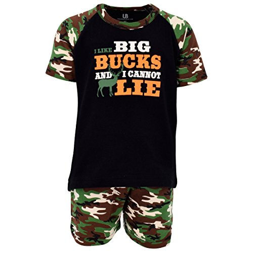 Unique Baby Boys I Like Big Bucks 2 Piece Father's Day Hunting Outfit (3T) Green