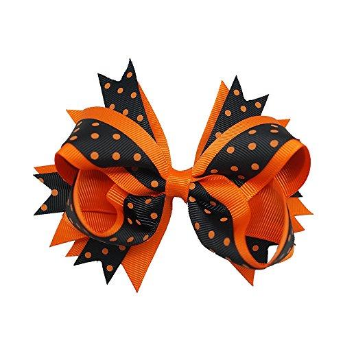 Sports Novelties Hair Bow Clips, Orange/Black