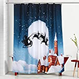 Vinwer Mildew Resistant Christmas Shower Curtain 72x72 Waterproof Starfish Printed Bath Curtain Liner with 12 Free Hooks (Style 1)