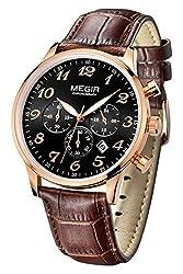 Megir Mens Fashion Casual Rose Gold Sports Chronograph Date Brown Leather Analog Quartz Watches