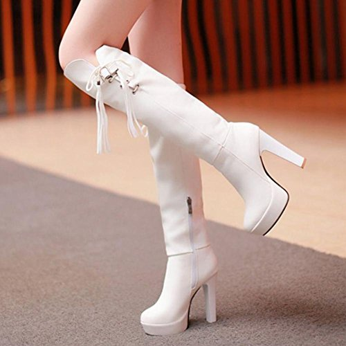 Botas altas de 4U® borla redonda Rodilla Zapatos Casual PU white de Best Premium Zapatos Punta cuñas mujer Knight altas zapatos Boots 12CM xvqPPCaw
