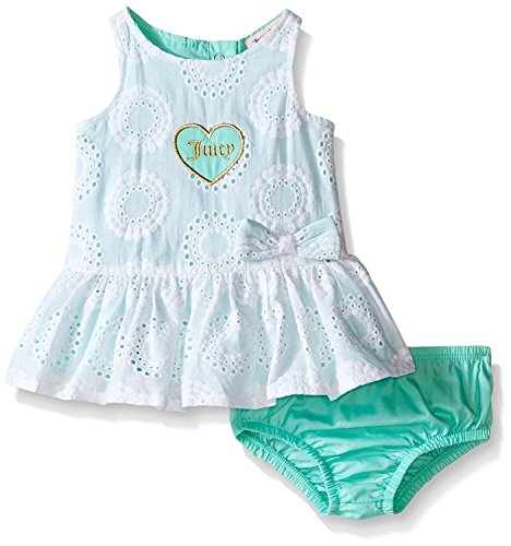 [oppicong Baby Girls' Eyelet Dress and Poplin Panty Sea GlassBaby] (Under The Sea Dress Up Ideas)