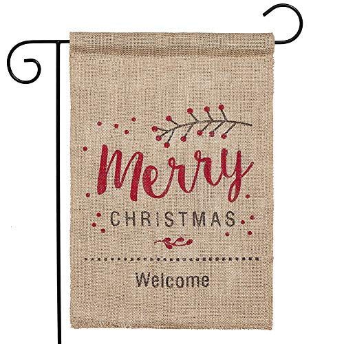 """N&T NIETING Christmas Red Cherry Welcome Double-Sided Burlap Garden Flag - 11.8""""W x 17.7 H"""