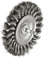 "Weiler Standard Wire Wheel Brush, Round Shank, Steel, Partial Twist Knotted, 4"" Diameter, 0.014"" Wire Diameter, 1/4"" Shank, 7/8"" Bristle Length, 1/2"" Brush Face Width, 20000 rpm"