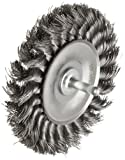 Weiler Standard Wire Wheel Brush, Round Shank, Steel, Partial Twist Knotted, 4'' Diameter, 0.014'' Wire Diameter, 1/4'' Shank, 7/8'' Bristle Length, 1/2'' Brush Face Width, 20000 rpm