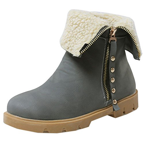 COOLCEPT Women Boots Zipper Warm Lined Gray