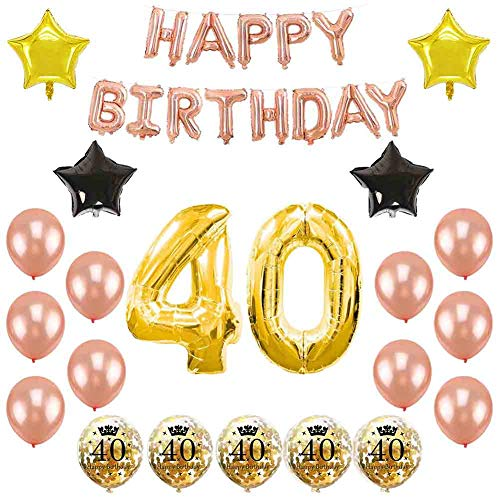 40th Birthday Party Decorations Kit – Number 40 Foil Balloon Rose Gold Happy Birthday Banner Rose Gold Birthday Balloons Star Foil Balloon Confetti Balloons for 40th Birthday (Balloons)