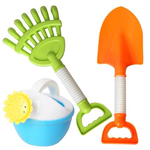 rainbow yuango 3PCS Sprinkler Beach Toys Set Shovels, Rakes Sand Bucket Toys Party Favors for Kids(K2-6162)