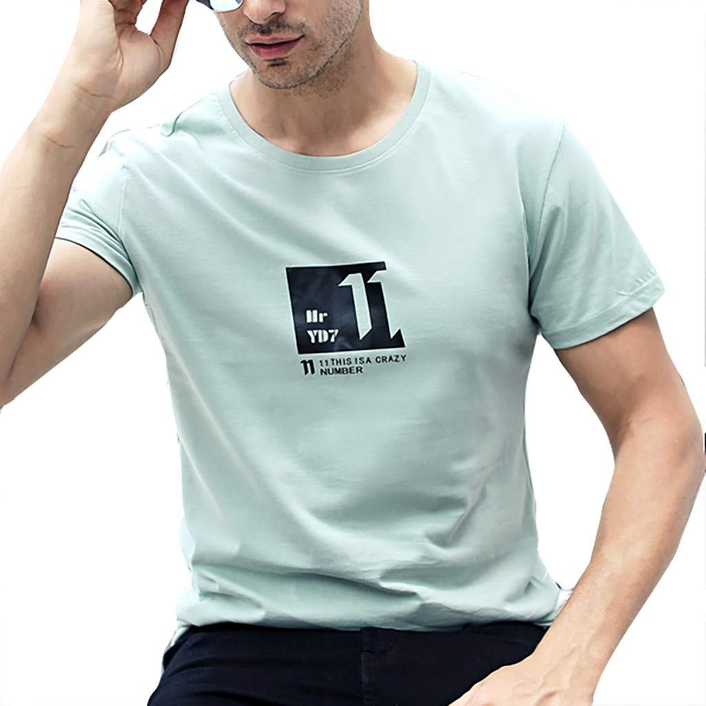 Serzul Printed & Simple T-Shirt for Men, Sport Style Short Sleeve Tops Classic Fit Basic Tee for Sport/Outdooor/Business Green
