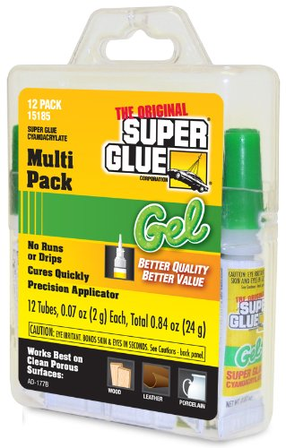 Super Glue 15185 Gel, 12-Pack, .07oz tubes 0.07 Ounce Super Glue