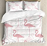 Flamingo Duvet Cover Set by Ambesonne, Standing Flamingos Pattern Holiday Jungle Hawaii Wildlife Illustration, 3 Piece Bedding Set with Pillow Shams, King Size, Light Pink and White
