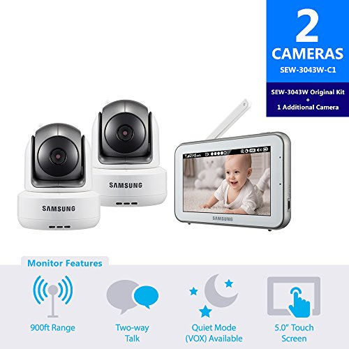 Samsung SEW-3043W-C1 BrightVIEW HD Baby Video Monitoring System IR Night Vision PTZ 5.0 Inch. Touch Screen with 1 Additional Camera by Hanwha