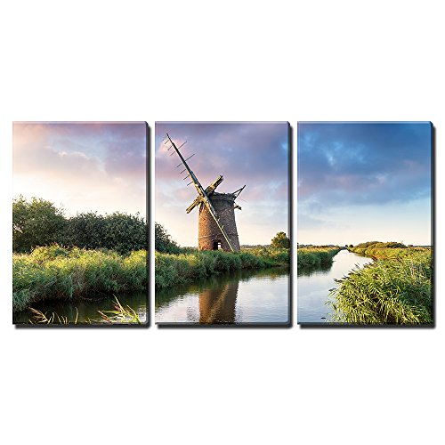 """wall26 - 3 Piece Canvas Wall Art - THR Ruins of The Brograve Windmill on The Norfolk Broads at Sea Palling - Modern Home Art Stretched and Framed Ready to Hang - 16""""x24""""x3 Panels"""