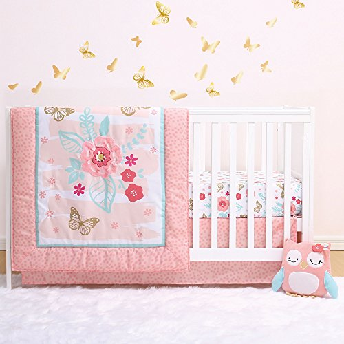 Satin Crib Bedding Set - Aflutter 4-Piece Butterfly and Flowers Baby Crib Bedding Set by Little Haven