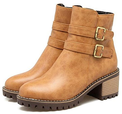 IDIFU Womens Casual Buckle Side Zipper Round Toe Ankle Boots Motor Booties With Mid Chunky Heels Yellow kBG8Idpe