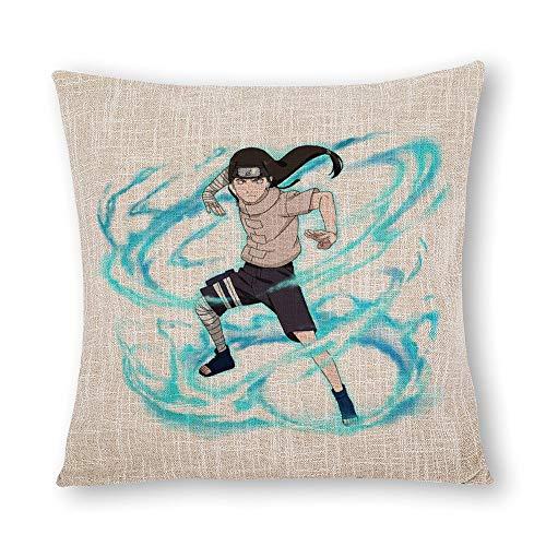 ZWCSM Naruto Pillow Covers Set of 2, Soft Decorative Neji Hyuga Naruto Ninja Blue Lightning Storm Linnet Throw Pillow Covers Cushion Covers for Sofa Bedroom Car, 18''x18''
