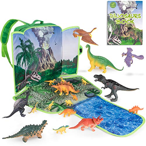 Gamenote Dinosaur Toys with 18 Dinosaurs & Illustrated Book - Figures Playset Toys for Boys and Girls 3 Years Old & Up
