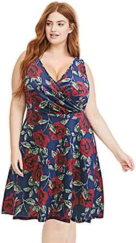 9d1f418da3a Pinup Fashion Women s Plus Size V-Neck Casual Work Stretchy Swing Summer  Dress