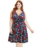 Pinup Fashion V-Neck Sleeveless Summer Flare Floral Casual Plus Size Dress for Women Blue XL(US 18W-20W)